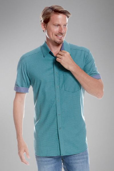 Tatonka Luti M's Short Sleeve Shirt teal green grün Hemden 4013236289886